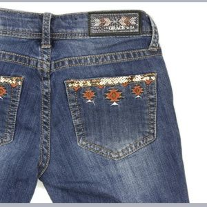 Grace in LA Southwestern Embroidered Frayed Jeans